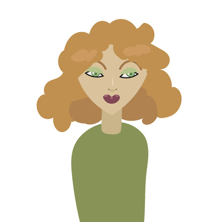 sly girl with red hair and lips of a dark purple in a green sweater isolated vector illustration on a white background