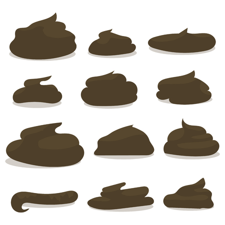 dark brown different forms of excrement cartoon isolated on white background Illustration
