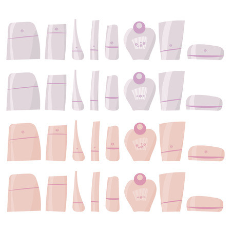 pink and white hand-drawn Brilliant plastic tubes with cosmetics and perfume clipart isolated on white background with flowers