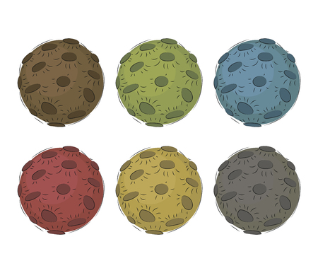 6 multi-colored vector moons with craters isolated on white background set. Vectores