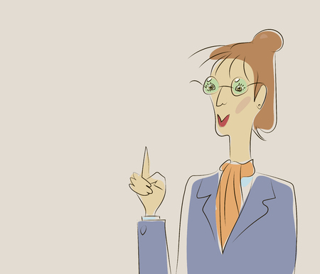woman teacher in strict suit and glasses raised her finger, calls for attention vector illustration red hair
