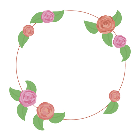 wreath of rounded pink and red roses with green leaves isolated on white background