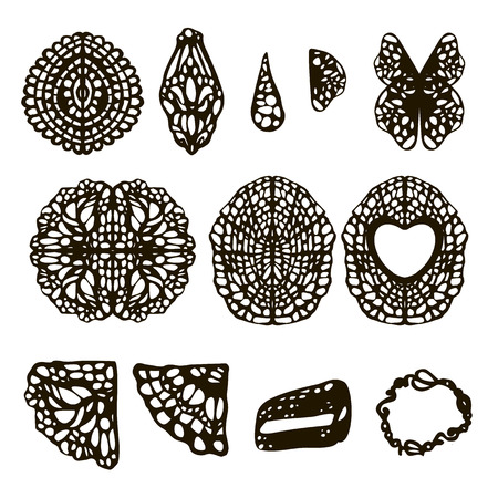 Patterns with holes filigree napkins ligament leaves black isolated on white background Vectores