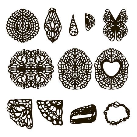 Patterns with holes filigree napkins ligament leaves black isolated on white background Illustration