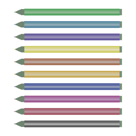 set of multi-colored colored markers shiny without caps isolated on white background drawing vector Illustration