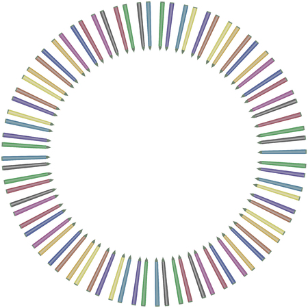 Circle circle from multi-colored colored markers or liners in a row isolated on white background