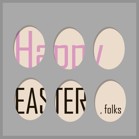 Cute easter card with holes in the shape of eggs happy easter folks written gray