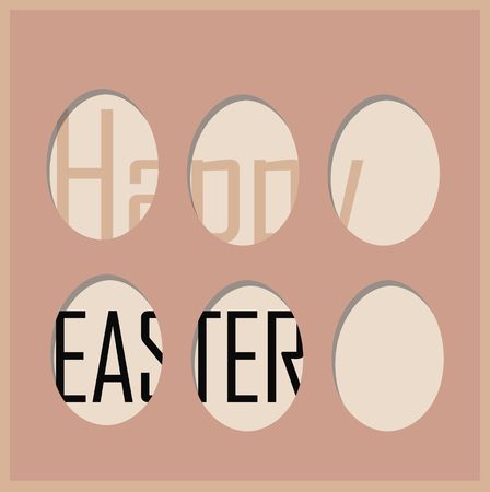 Cute easter card with holes in the shape of eggs happy easter written