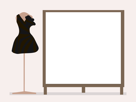 Black cocktail dress on a pink mannequin next to an empty board for entries on a pale background with a shadow.