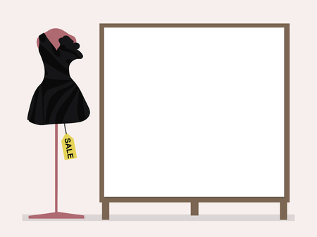 Black cocktail dress on a pink mannequin and tag sale next to a blank placard for inscriptions on a pale pink background