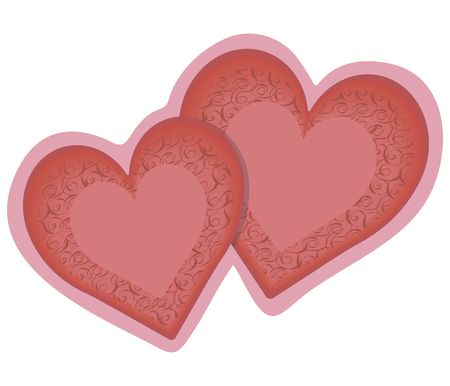 Two red and pink hearts isolated on a white background