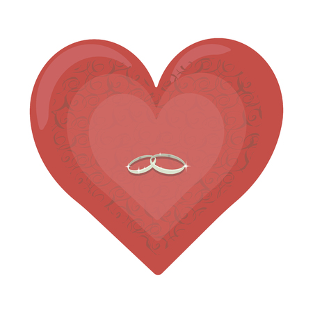 Red heart with wedding silver rings isolated on white background