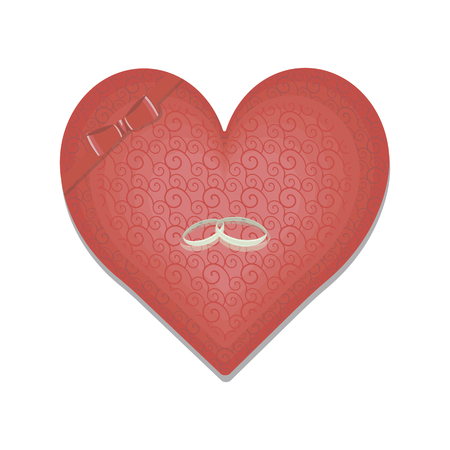 Red heart with cute pattern and a bow with wedding rings isolated on white background
