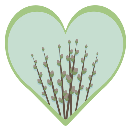 spring easter blue heart with sky and branches of pussy willow with green border isolated on white background