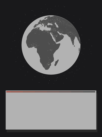 black and white planet glowing continents Eurasia africa light illumination earth in black space with stars from below block for inscriptions game message Vectores