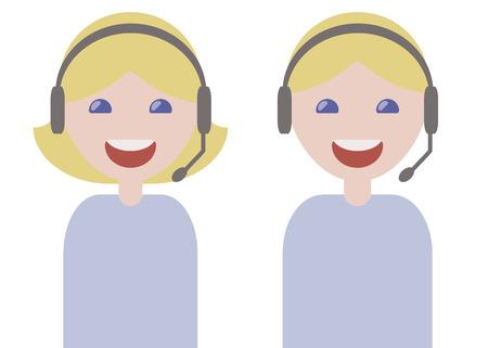 operadores de chica y chico auriculares micrófono sonrientes rubias en camisetas de luz azul problemas de servicio al cliente aislados sobre fondo blanco