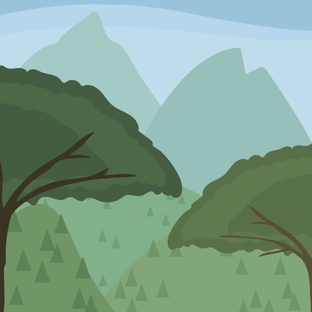 A two spread out leafy trees against the backdrop of distant hills and mountains with stylized coniferous trees under blue sky vector illustration Ilustração