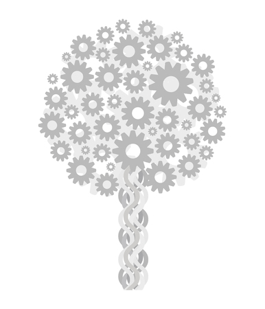 A tree light gray technical steampunk from gears isolated on white background vector