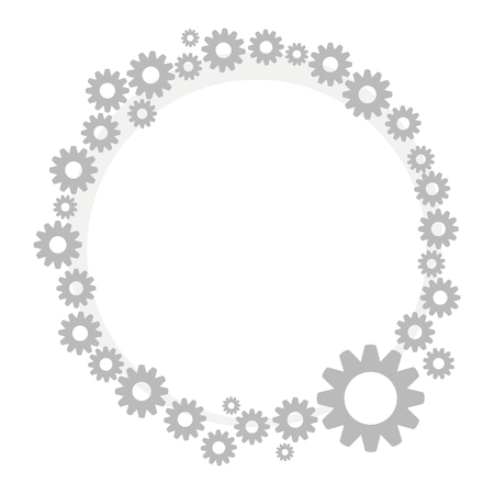 A wreath border gray metallic technical steampunk from small and large gears isolated on white background vector