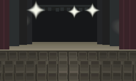 Empty theater scene with backstage burgundy curtain and rows of brown chairs for viewers vector illustration