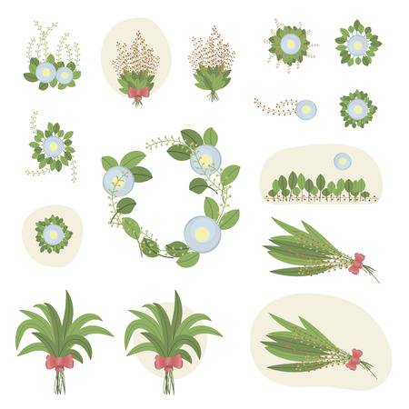 Set of compositions many bouquets of green leaves of plants with blue flowers sun sky spring fresh bowskin beautiful vector Stock Vector - 100732449