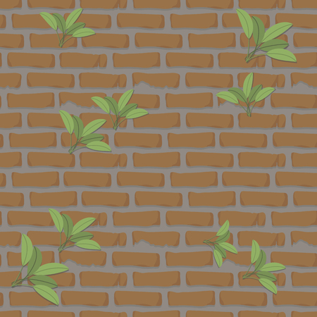 seamless pattern brick wall orange with cement construction with green leaves mortar clay stones background vector