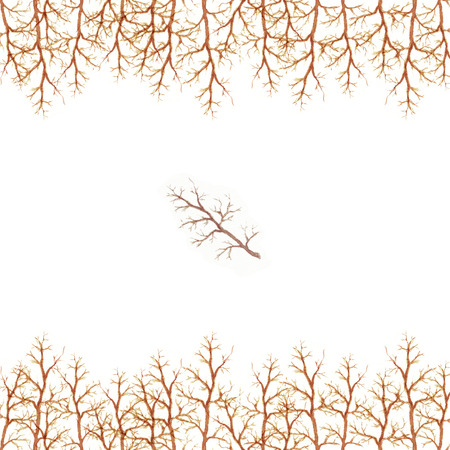 Watercolor frame of tree branches with ocher brown light color border pattern isolated on white background