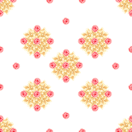 Beautiful diamond yellow ocher brown leaves geometric bush with red royal scarlet and roses on a white background watercolor seamless pattern texture Stockfoto