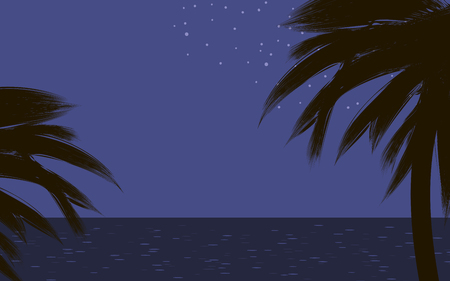 black dark contours of palm trees on tropical coast at night blue sky ocean glare stars Vector drawing