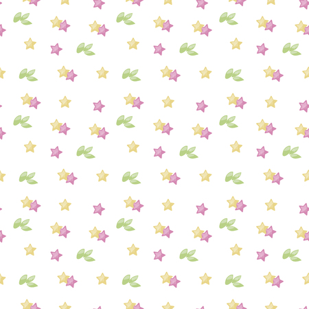 White vector background pattern of asterisks leafs leaves isolated on white background pink yellow cute light colored Illustration