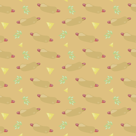 beige orange seamless pattern texture with hot dog green leaves delicious gift food sausage food vector background Illusztráció