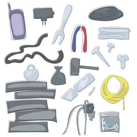 working tools metal parts repair wire magnet wires parts gadgets walkie-talkie set isolated vector drawings on white background
