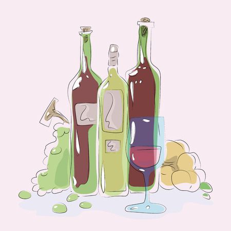 glass blue glass on a background of green bottle of wine glare grapes peaches composition colorful vector illustration gloss fruit illustration