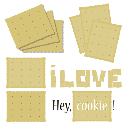 set of composition of rectangular cookies delicious crisp light beige cracker wavy edge of love vector inscription isolated on white background  イラスト・ベクター素材