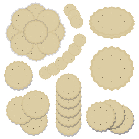 set of compositions from round cookies baking delicious crispy light beige cracker wavy edge pattern vector isolated on white background