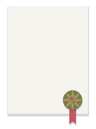 blank white sheet of paper with shadow with bronze round award with ribbon and red faceted shiny gem in bottom right corner Vector illustration isolated on white background. Illustration