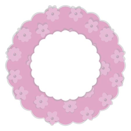 wreath baby pink paper with flowers and pearly beads cloud place for inscription vector isolated on white background Illustration