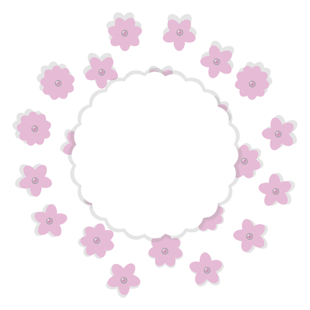 composition baby pink paper with flowers and pearly beads cloud place for inscription vector isolated on white background Illustration
