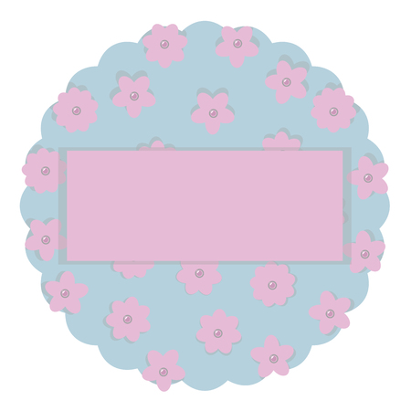 wreath pastel colors for baby pink and blue paper with flowers and pearly beads cloud place for inscription vector isolated on white background