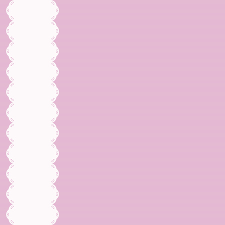 light white ribbon with carved edge decor scrapbooking left on a delicate pink background vector illustration background