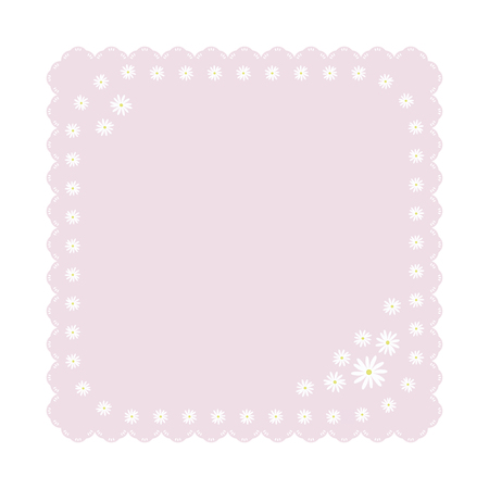 light gently pink square napkin with light white daisies flowers cute children carved edge object isolated on white background vector