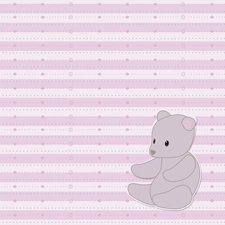 Rayas rosa claro lindo bebé vector de patrones sin fisuras con líneas estampadas de puntos, rombos, con un osito de peluche gris en el fondo de la esquina inferior derecha