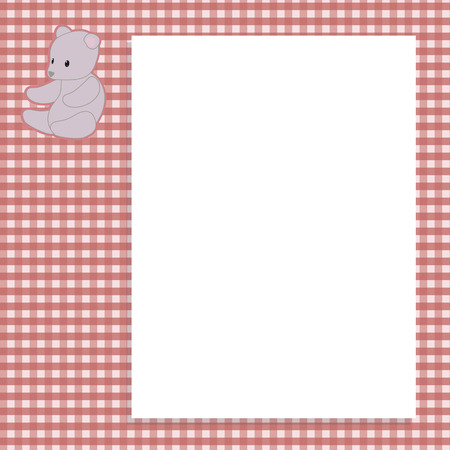 bright red checkered childrens vector won with a gray soft teddy bear toy in the top corner with white paper letter and shadow background napkin.