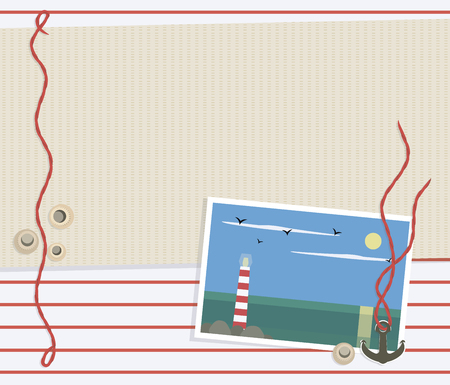 a sea striped red white background with a light beige mat, a red rope, round shells, a metal anchor and a photograph of the sea with a lighthouse on a rocky island, the sun and seagulls vector Illustration