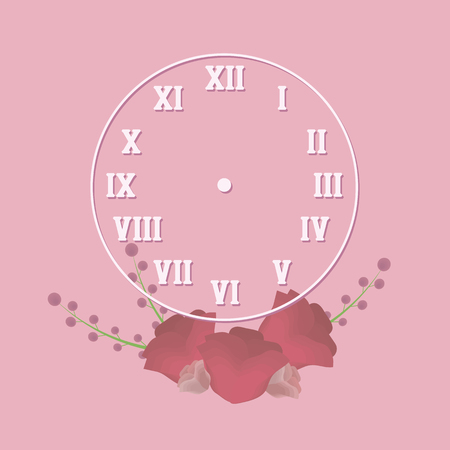 clock round with retro roman numerals white outline with shadow on romantic pink background with red flowers and twigs plants illustration vector drawing simple