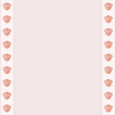 Flower frame pink flowers white stripes around the edges light pink purple middle column stripe postcard diary page vector border