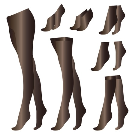Black thin pantyhose stockings socks leggings isolated on white background objects drawings kapron vector set.