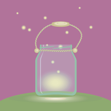 glass bank lantern with fireflies on a pink background green glade rope handle vector illustration 向量圖像