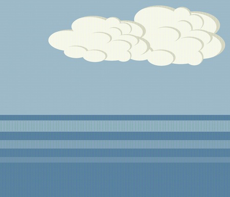 blue sea horizon sea ocean white clouds sky landscape illustration threaded vector background Ilustrace