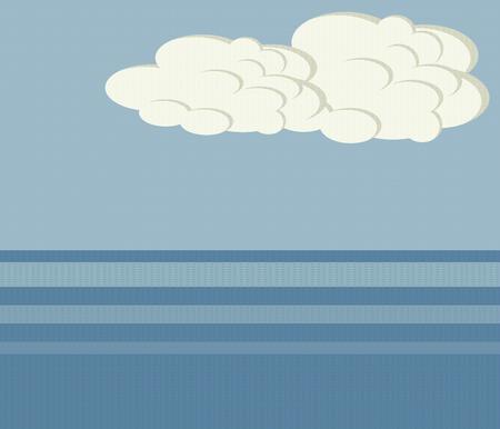 blue sea horizon sea ocean white clouds sky landscape illustration threaded vector background Illustration